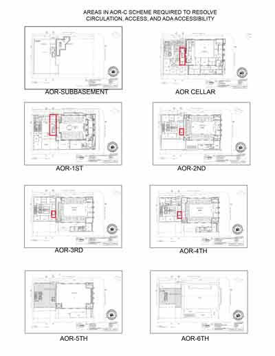 Oppose grant of zoning variance to congregaton shearith israel new the new graphic outlines in red all of the areas in a proposed building required to accommodate the asserted access and circulation needs of the ccuart Gallery